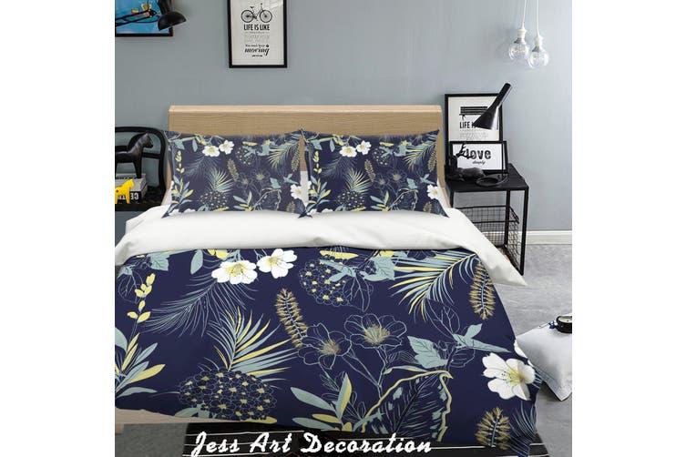 3D Flowers Pattern Black Background Quilt Cover Set Bedding Set Pillowcases  214-King