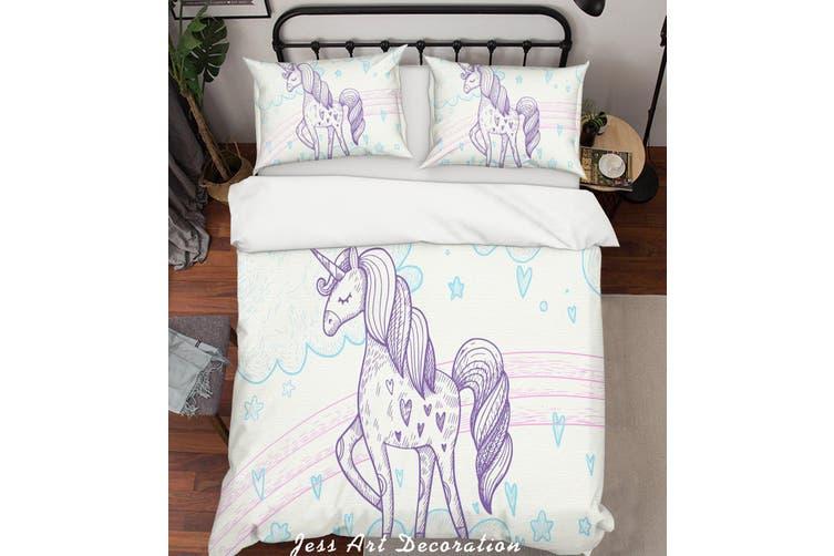 3D White Unicorn Quilt Cover Set Bedding Set Pillowcases 34-Queen
