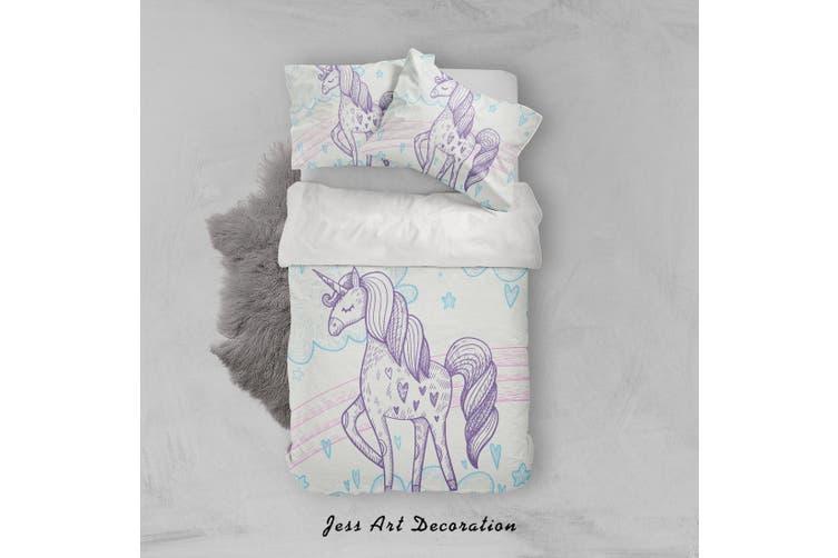 3D White Unicorn Quilt Cover Set Bedding Set Pillowcases 34-King
