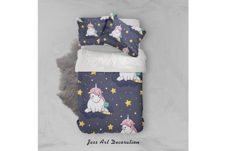 3D Black Unicorn Star Quilt Cover Set Bedding Set Pillowcases 32-Double