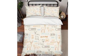 3D Cartoon Animals Quilt Cover Set Bedding Set Pillowcases 40-Single