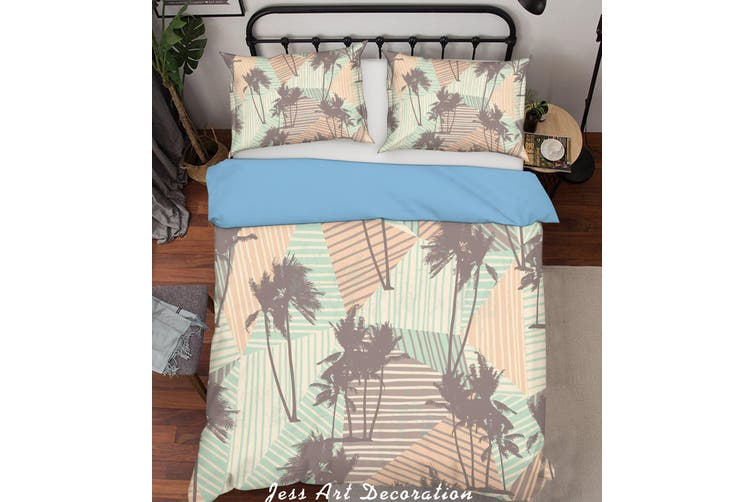 3D Palm Tree Pattern Color Geometry Background Quilt Cover Set Bedding Set Pillowcases  208-Queen
