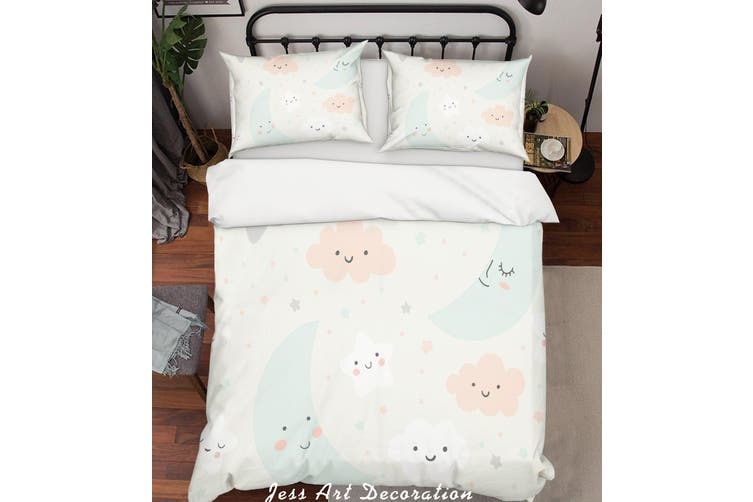 3D Cartoon moon Clouds Quilt Cover Set Bedding Set Pillowcases  206-Double