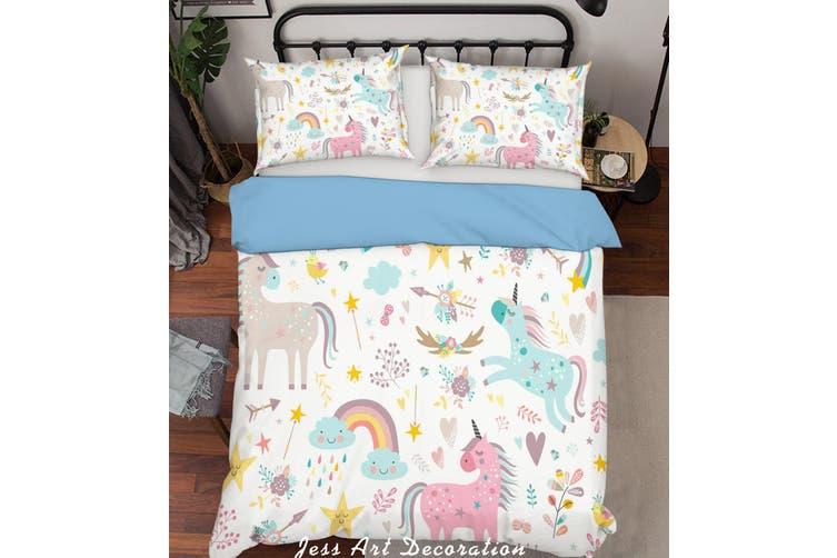 3D Color Cartoon Unicorn Quilt Cover Set Bedding Set Pillowcases  199-Single