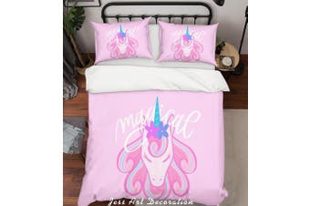 3D Pink Unicorn Quilt Cover Set Bedding Set Pillowcases 24-Queen