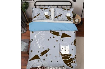 3D Color Cartoon Cats Astronaut Quilt Cover Set Bedding Set Pillowcases  198-Double
