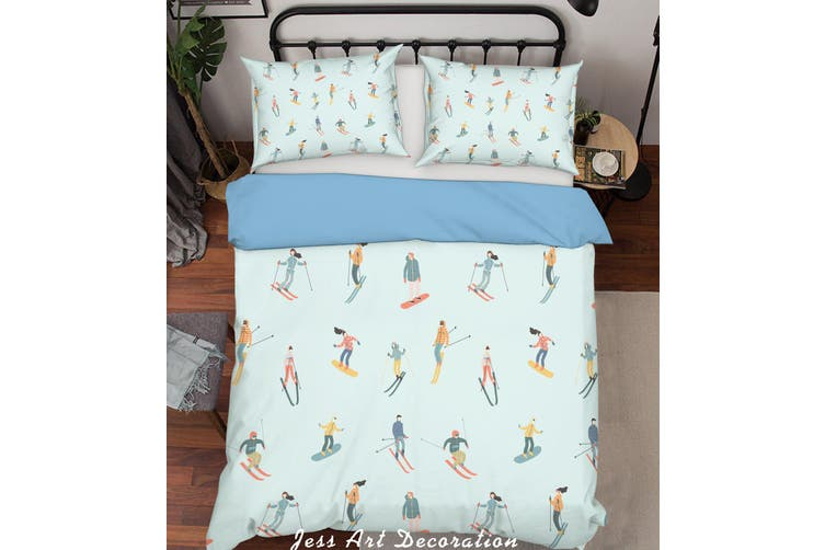 3D Color Skiing Pattern Quilt Cover Set Bedding Set Pillowcases  197-Single