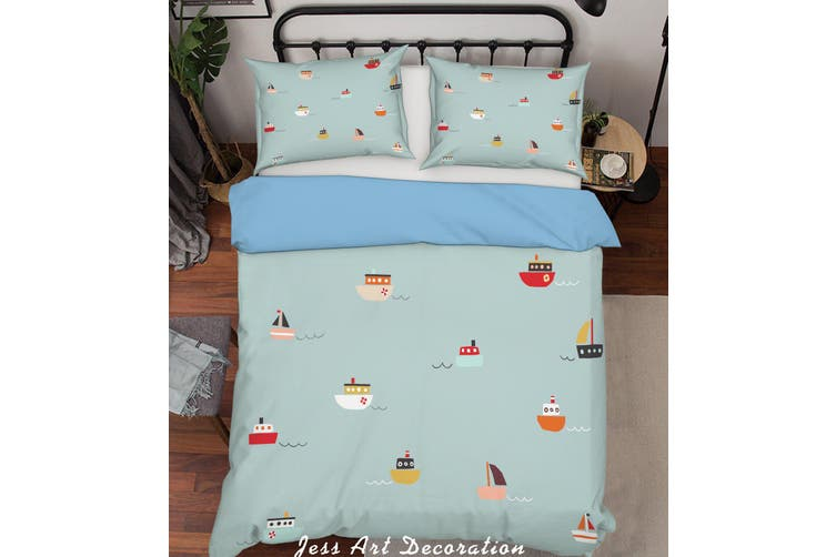 3D Color Boats Quilt Cover Set Bedding Set Pillowcases  195-Queen