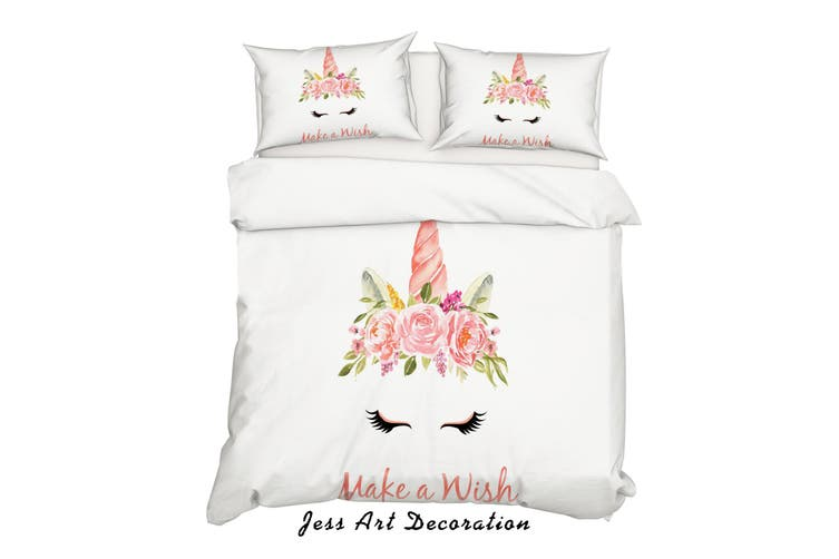 3D Cartoon Unicorn Floral Quilt Cover Set Bedding Set Pillowcases 99-Double