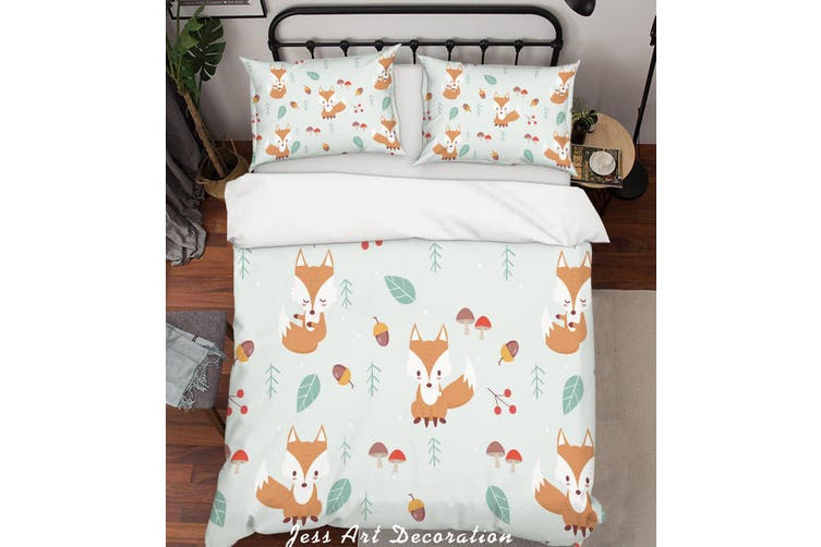 3D Cartoon Fox Leaf Quilt Cover Set Bedding Set Pillowcases 35-Single