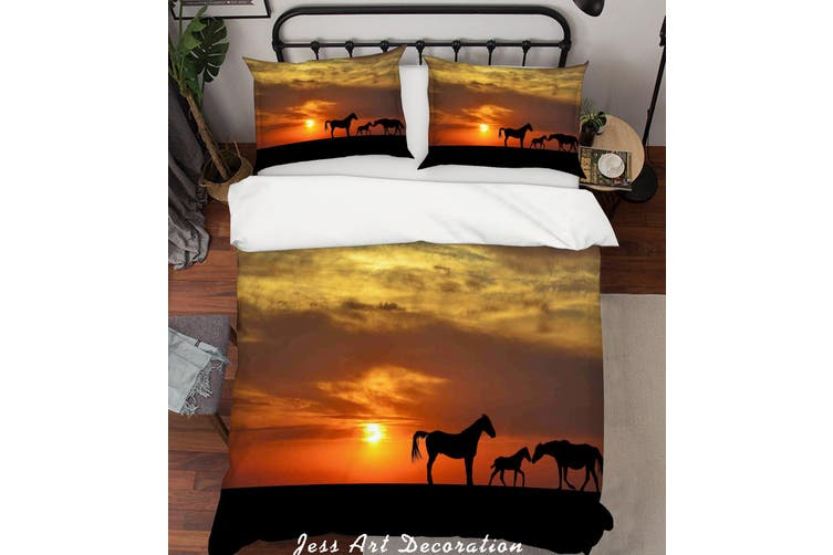 3D Grassland Horses Sunset Scenery Quilt Cover Set Bedding Set Pillowcases  192-Double
