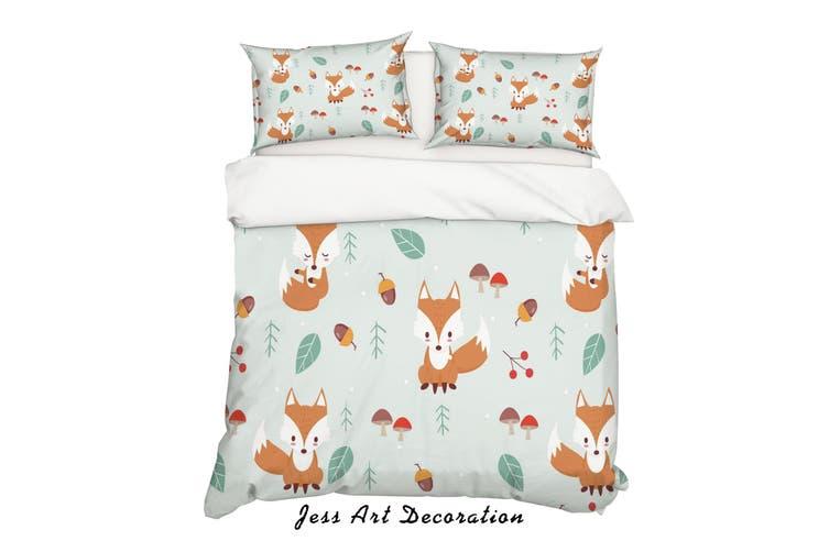 3D Cartoon Fox Leaf Quilt Cover Set Bedding Set Pillowcases 35-Queen