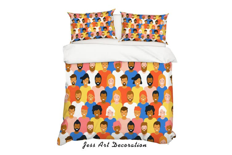 3D Colorful People Quilt Cover Set Bedding Set Pillowcases 32-King