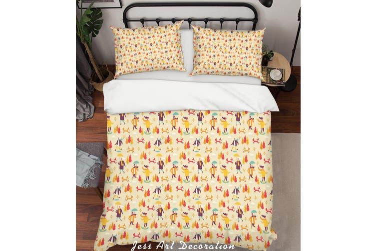 3D Cartoon Rellow Tree People Quilt Cover Set Bedding Set Pillowcases 21-Queen
