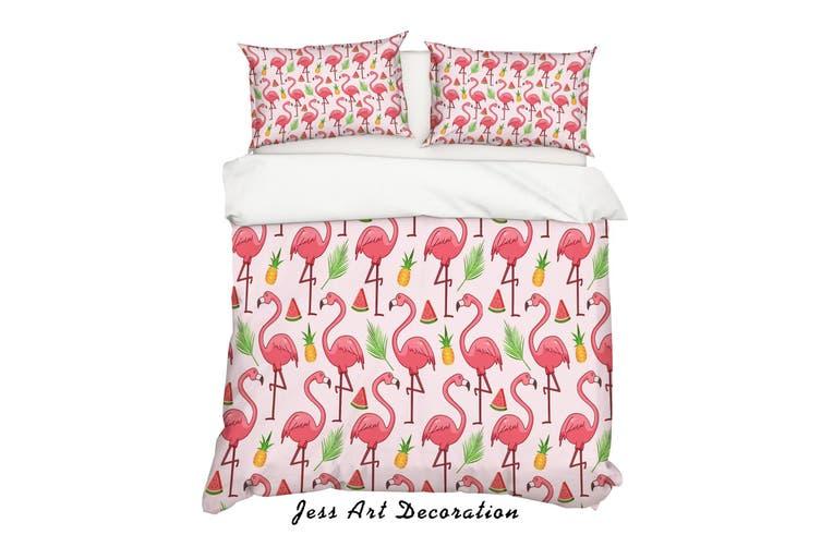 3D Cartoon Flamingo Watermelon Pink Quilt Cover Set Bedding Set Pillowcases 30-Queen
