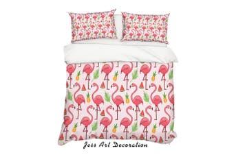 3D Cartoon Flamingo Watermelon Pink Quilt Cover Set Bedding Set Pillowcases 30-King