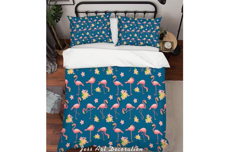 3D Cartoon Flamingo Blue Quilt Cover Set Bedding Set Pillowcases 29-Single