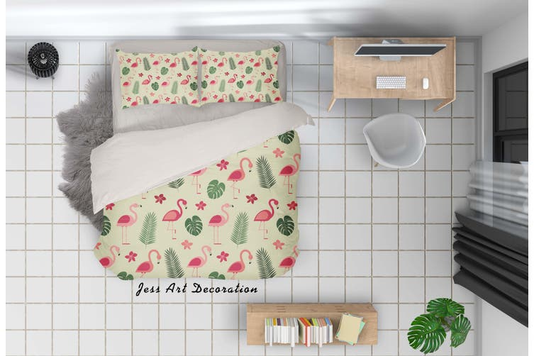 3D Cartoon Flamingo Leaves Quilt Cover Set Bedding Set Pillowcases 28-Double