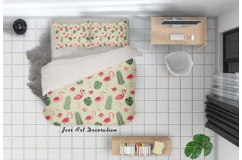 3D Cartoon Flamingo Leaves Quilt Cover Set Bedding Set Pillowcases 28-Queen