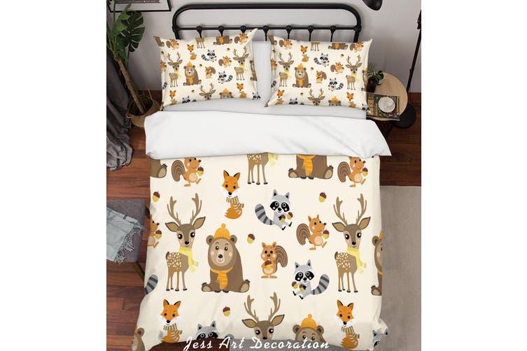 3D Cartoon Animals Quilt Cover Set Bedding Set Pillowcases 24-Queen