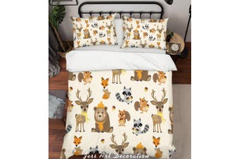 3D Cartoon Animals Quilt Cover Set Bedding Set Pillowcases 24-King