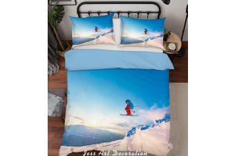 3D Skiing Quilt Cover Set Bedding Set Pillowcases  183-Double