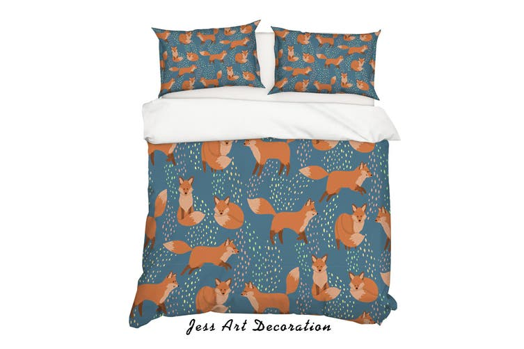 3D Cartoon Fox Blue Quilt Cover Set Bedding Set Pillowcases 23-Queen