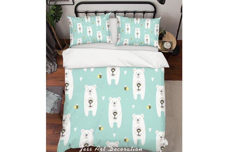 3D Cartoon Bear Green Quilt Cover Set Bedding Set Pillowcases 19-Single