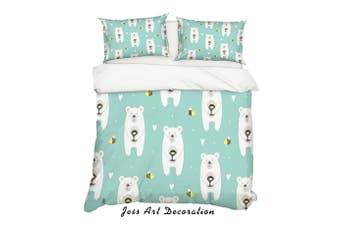3D Cartoon Bear Green Quilt Cover Set Bedding Set Pillowcases 19-King