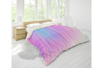 3D Pink Green Stripes Quilt Cover Set Bedding Set Pillowcases 117-Single