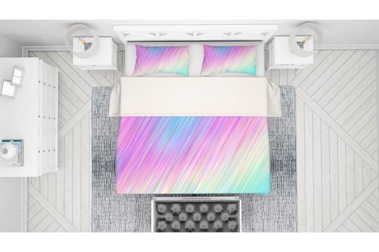 3D Pink Green Stripes Quilt Cover Set Bedding Set Pillowcases 117-King