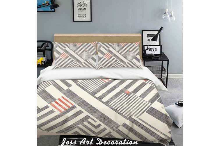 3D Black White Stripes Background Quilt Cover Set Bedding Set Pillowcases  158-Queen