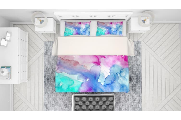 3D Watercolor Green Pink Blue Quilt Cover Set Bedding Set Pillowcases 116-Single