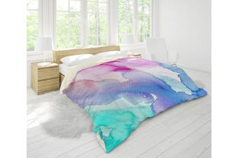 3D Watercolor Green Pink Blue Quilt Cover Set Bedding Set Pillowcases 116-Double