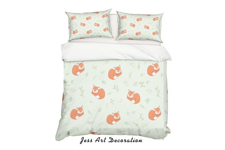 3D Cartoon Fox Leaf Quilt Cover Set Bedding Set Pillowcases 18-Double