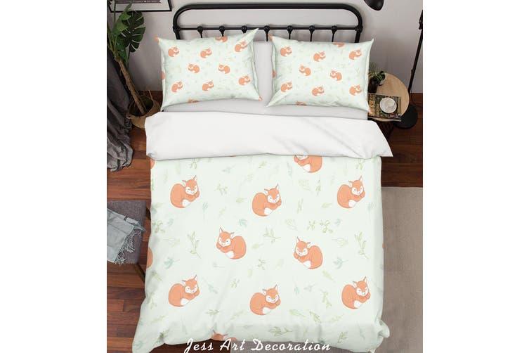 3D Cartoon Fox Leaf Quilt Cover Set Bedding Set Pillowcases 18-Queen