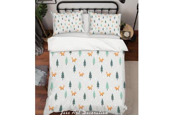 3D Cartoon Pine Fox Quilt Cover Set Bedding Set Pillowcases 17-Queen
