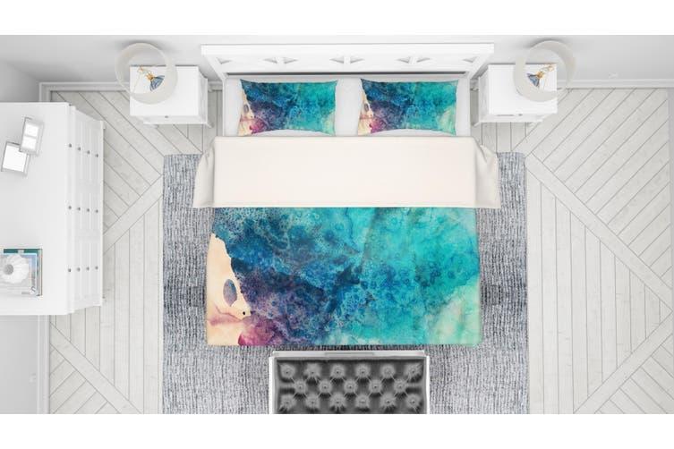 3D Blue Watercolor Quilt Cover Set Bedding Set Pillowcases 109-Double