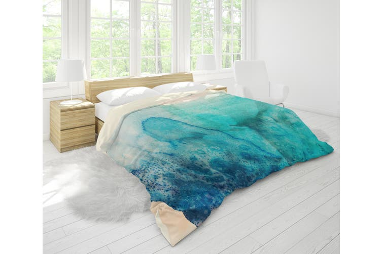3D Blue Watercolor Quilt Cover Set Bedding Set Pillowcases 109-King