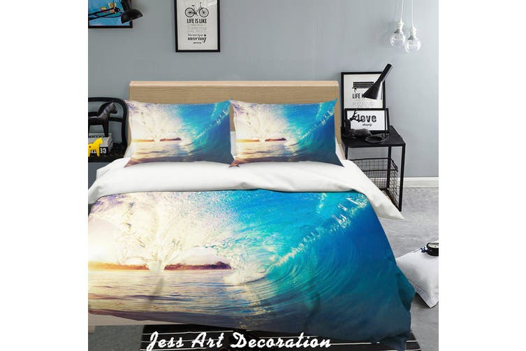 3D Blue Sea Waves Quilt Cover Set Bedding Set Pillowcases  131-Single