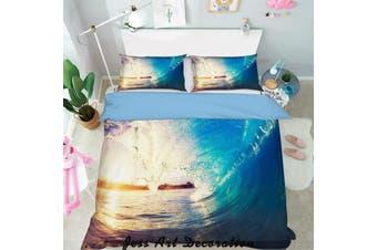 3D Blue Sea Waves Quilt Cover Set Bedding Set Pillowcases  131-Queen
