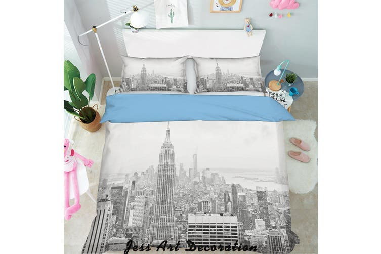 3D Black White City Building Quilt Cover Set Bedding Set Pillowcases  130-Single