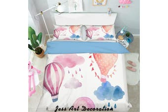 3D Color Hot Air Balloon Pattern Quilt Cover Set Bedding Set Pillowcases  128-Double
