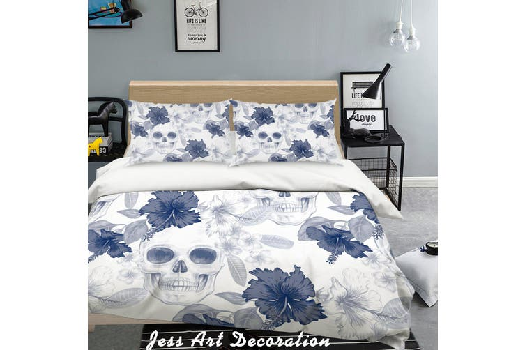 3D Black White Flowers Quilt Cover Set Bedding Set Pillowcases  125-Double