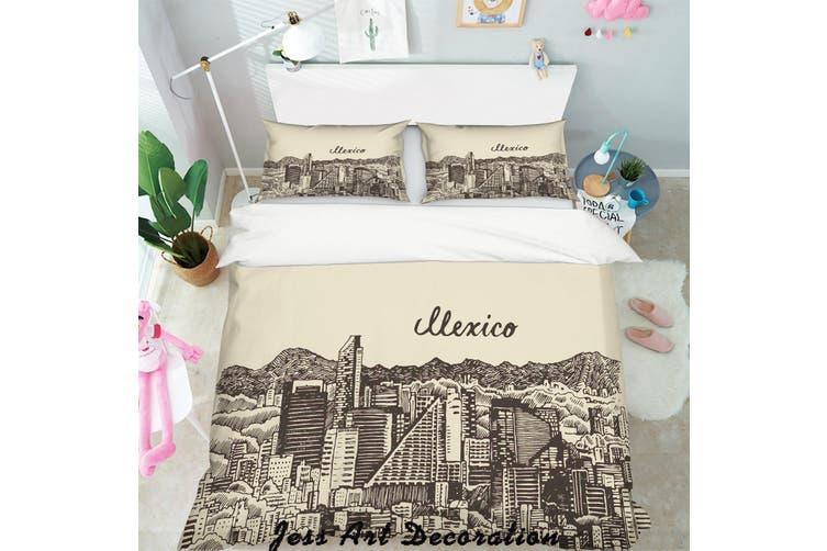 3D Black White City Building Quilt Cover Set Bedding Set Pillowcases  124-Double