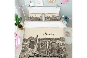 3D Black White City Building Quilt Cover Set Bedding Set Pillowcases  124-King
