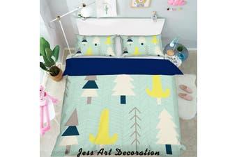 3D Cartoon Pine Pattern Green Background Quilt Cover Set Bedding Set Pillowcases  118-Double