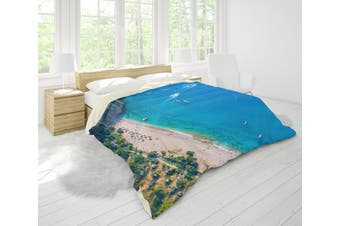 3D Blue Sea Beach Forest Coastal Quilt Cover Set Bedding Set Pillowcases 90-King
