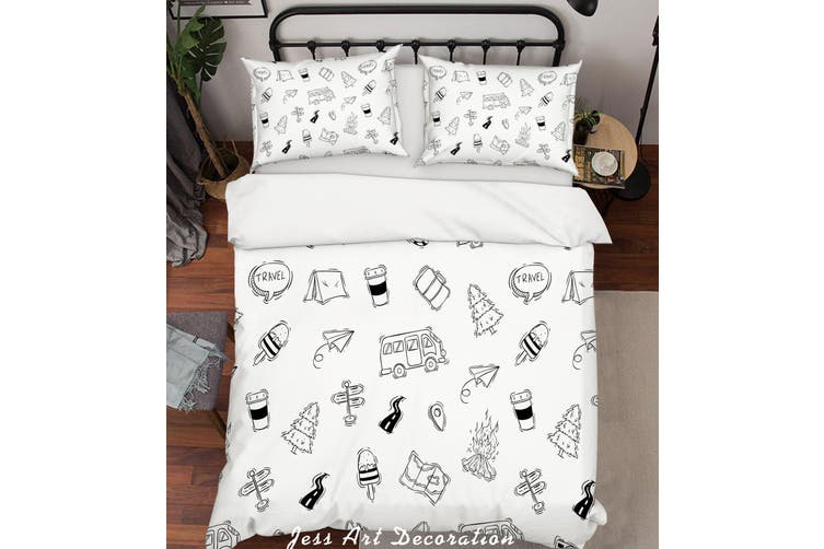 3D Cartoon Bus Pine Quilt Cover Set Bedding Set Pillowcases 2-King