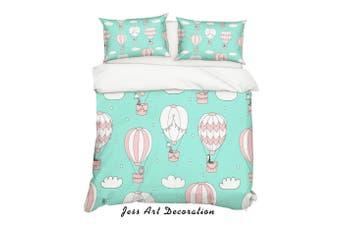 3D Cartoon Hot Air Balloon Quilt Cover Set Bedding Set Pillowcases 8-Single
